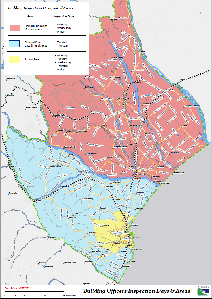 Map of serviced areas and days for building inspection